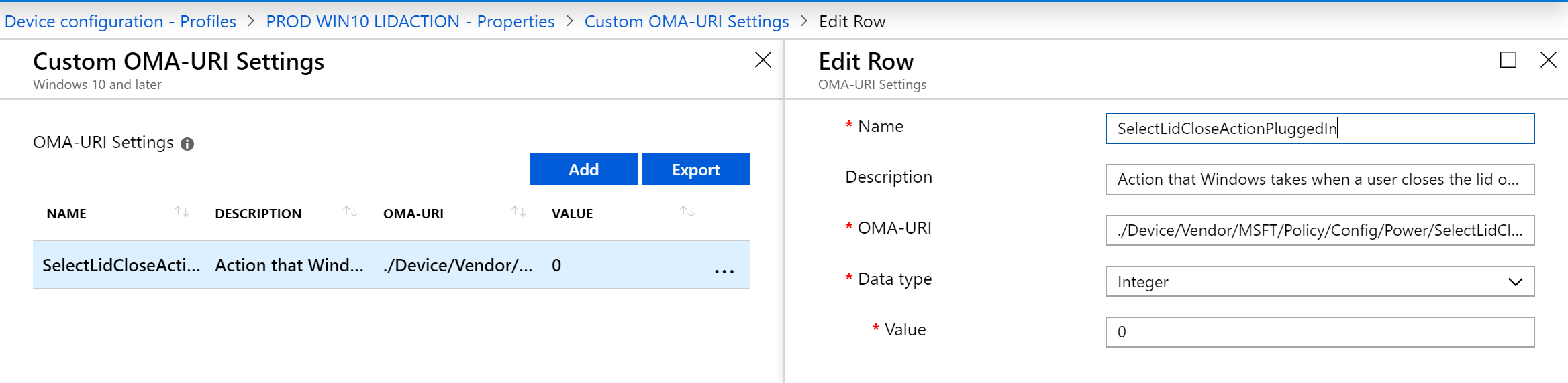 Intune OMA-URI Lid Action