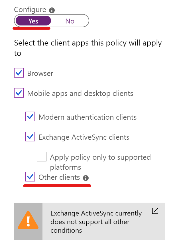 Conditional Access CLient Apps