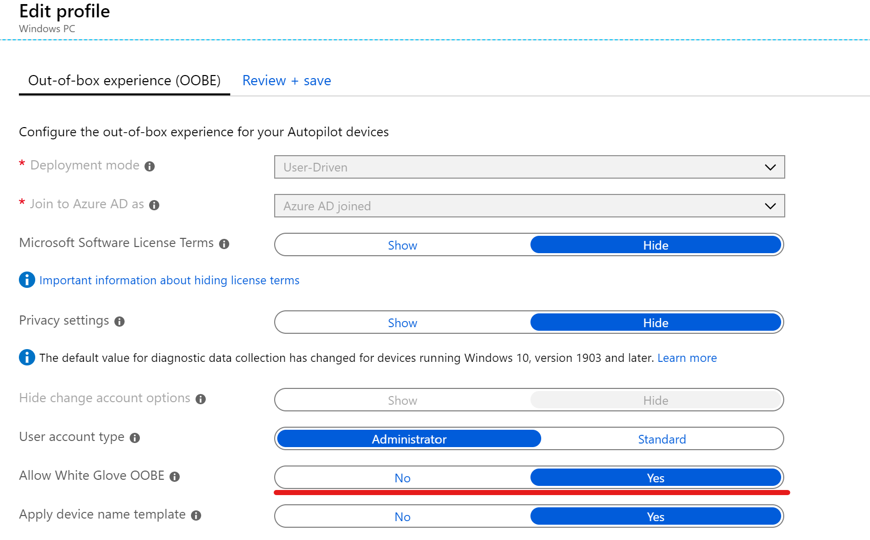Intune Autopilot for White Glove