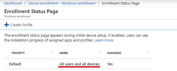 Autopilot White Glove Enrollment Status Page