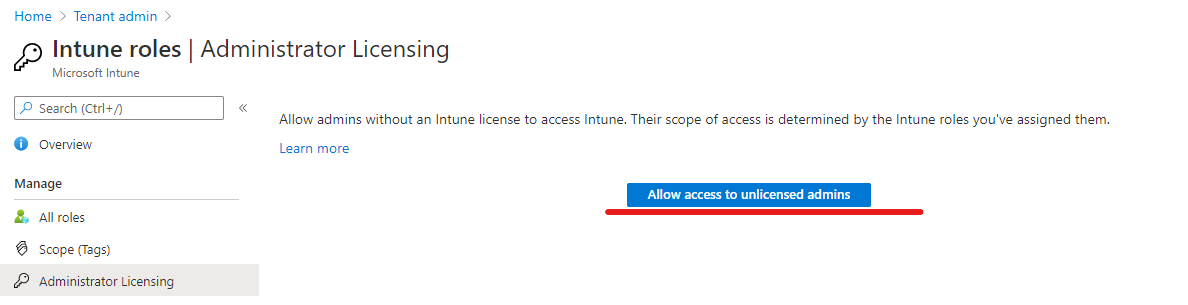 Intune role license requirement